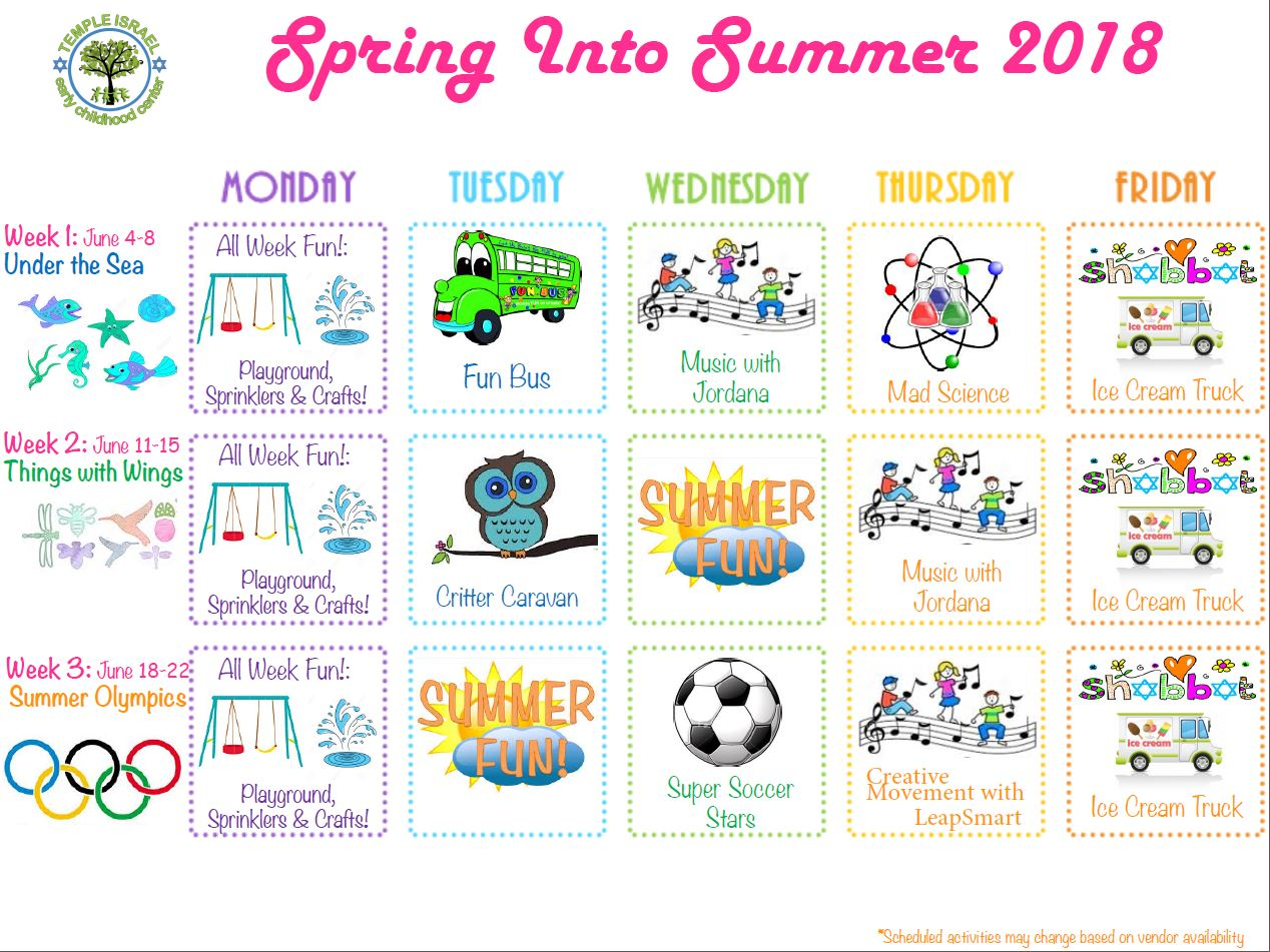 spring into summer schedule snip