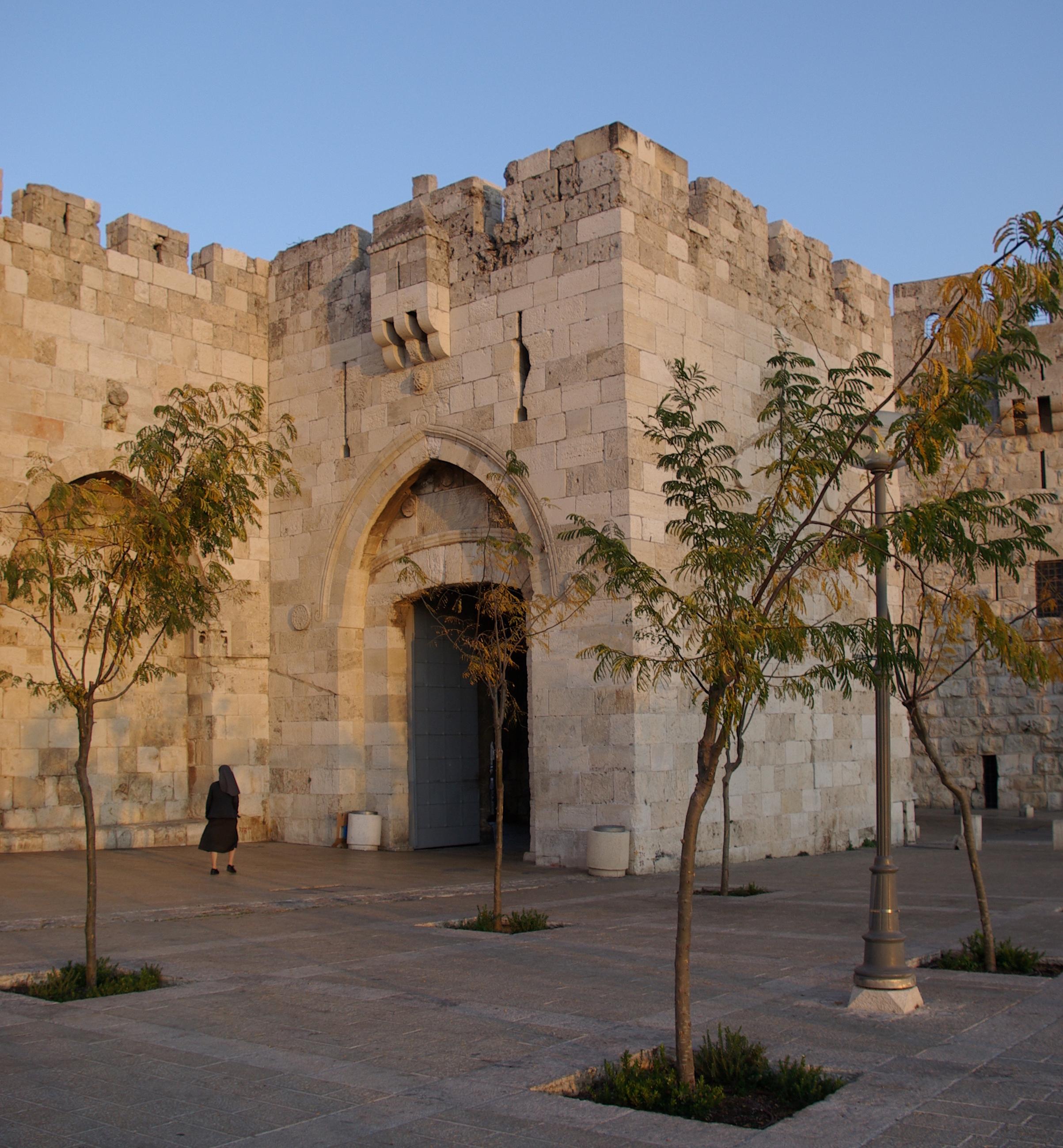 Jerusalem Jaffa Gate BW 1