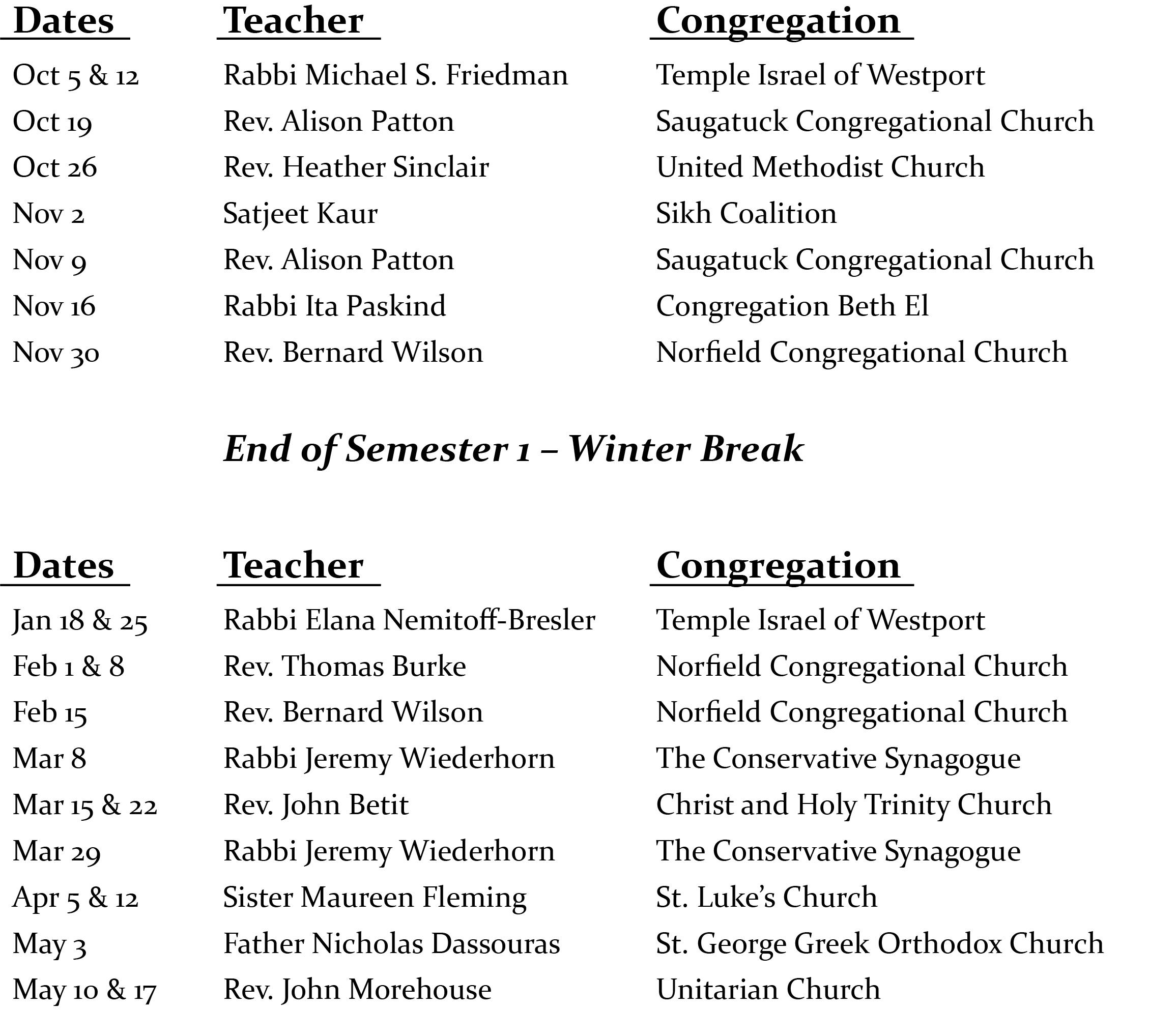 interfaith theology schedule 2021